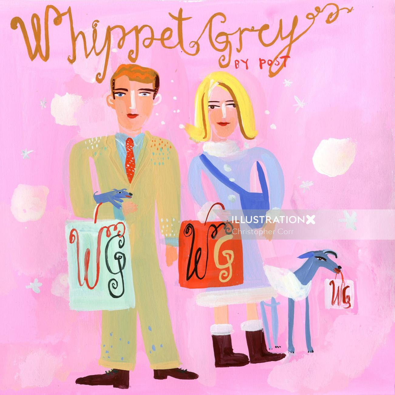 Whippet Grey brochure couple lettering illustration