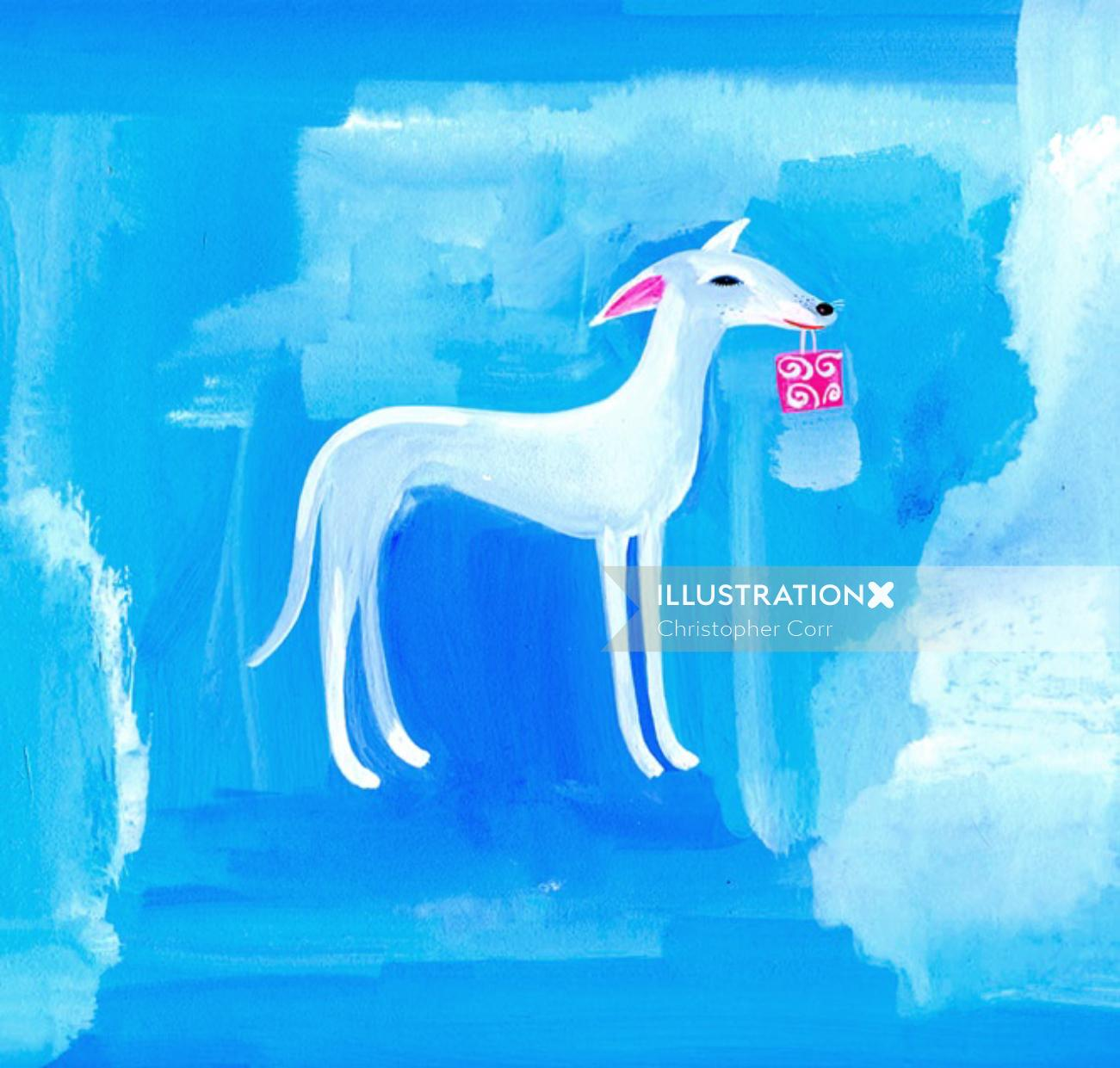 blue colored Whippet with gift