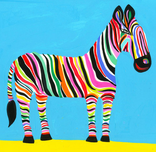 Illustration of a Zebra with multi-colored strips on body by Christopher Corr