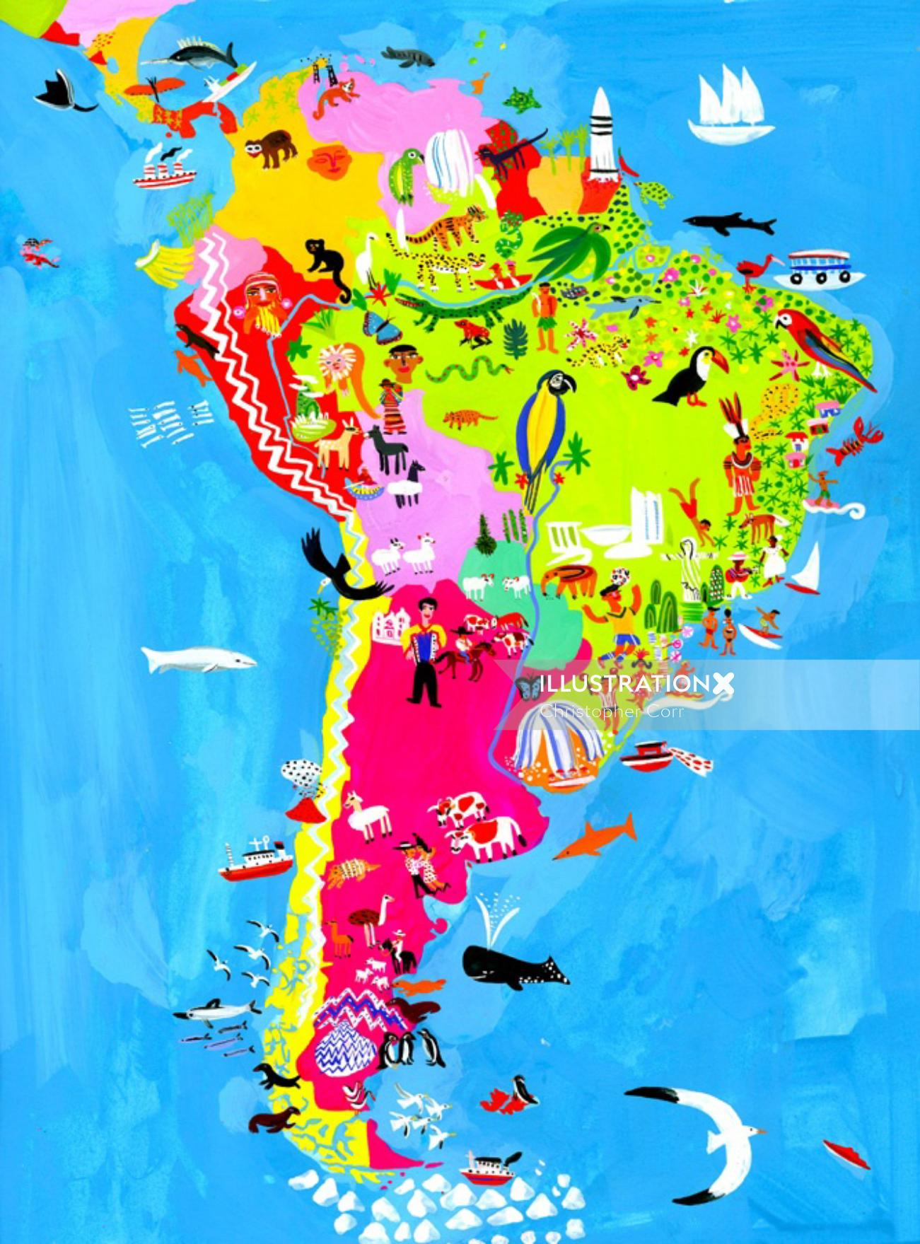 South America map illustration by Christopher Corr