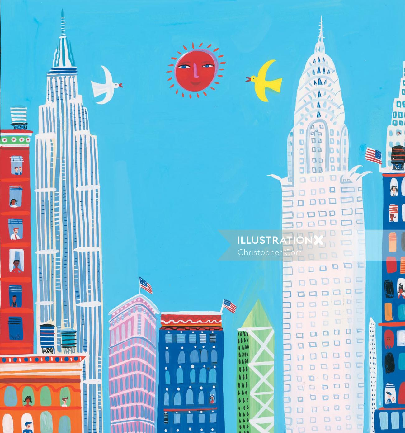 New York city illustration by Christopher Corr