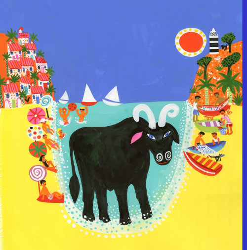 Illustration of a Bull on the Beach for book cover
