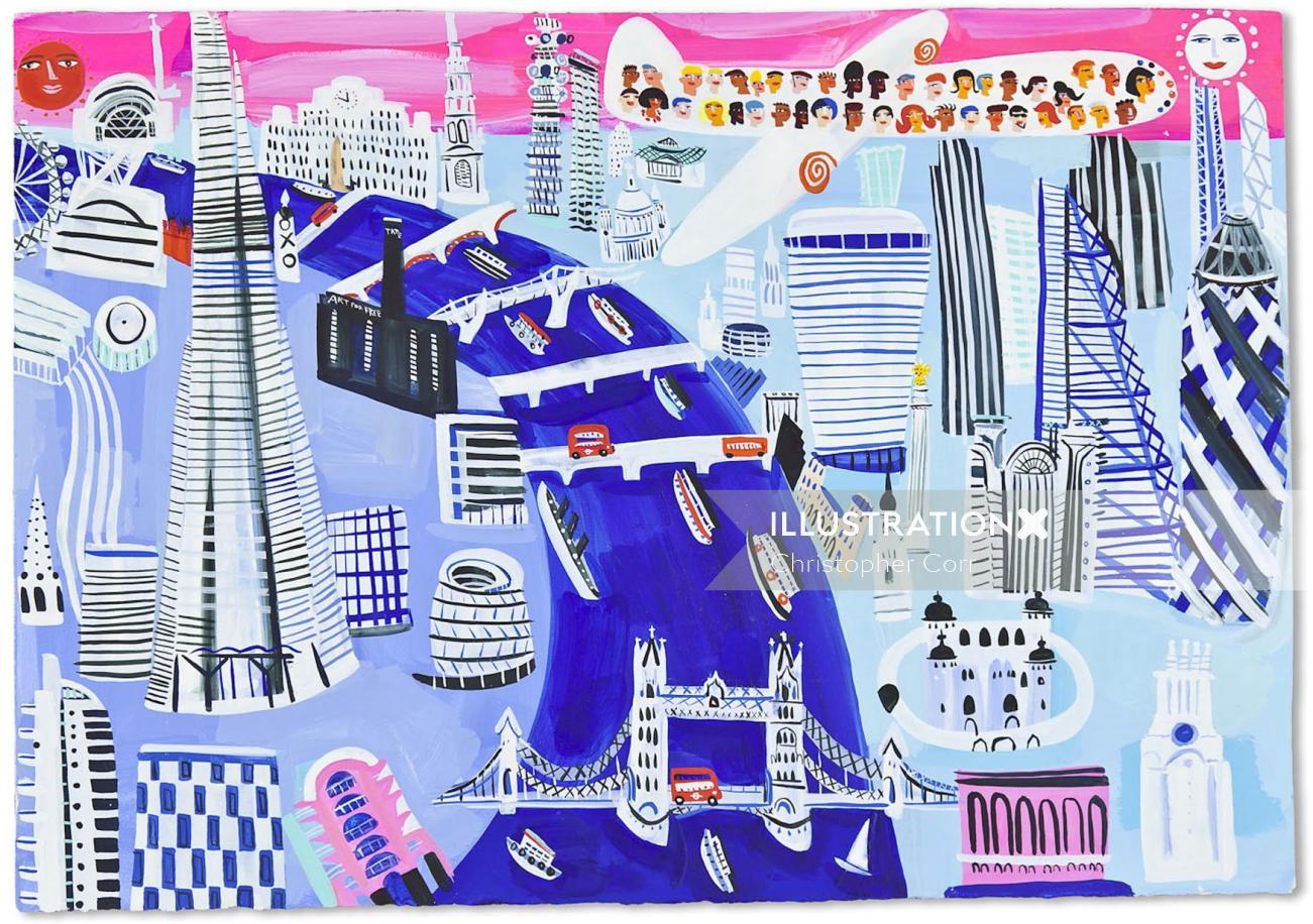 An illustration of London bridge top view