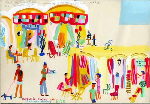 Uzes market travel illustration