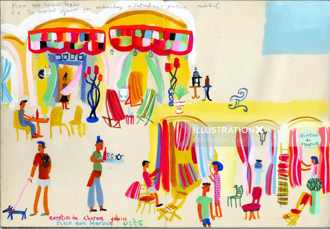Uzes market travel illustration