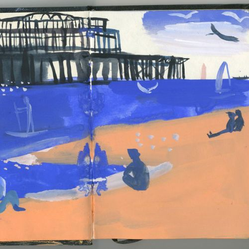 Brighton Beach watercolor art