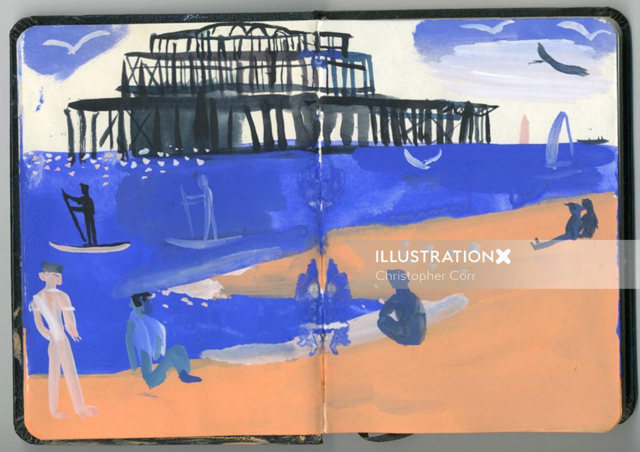 Brighton Beach watercolor art