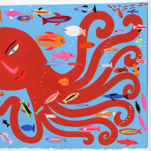 Red Octopus & fishes illustration by Christopher Corr