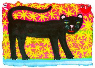 Big black cat illustration by Christopher Corr