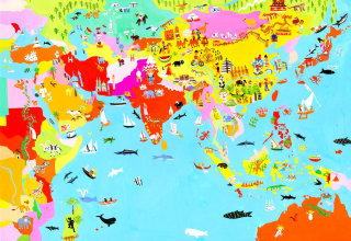An illustration of Asia map