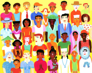 All people around the world in a picture - an illustration by Christopher Corr