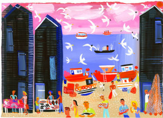 Hastings Beach with people - An illustration by  Christopher Corr
