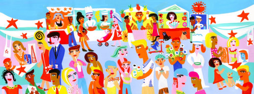 Illustration of street party