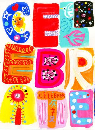 Celebrate, lettering illustration by Christopher Corr