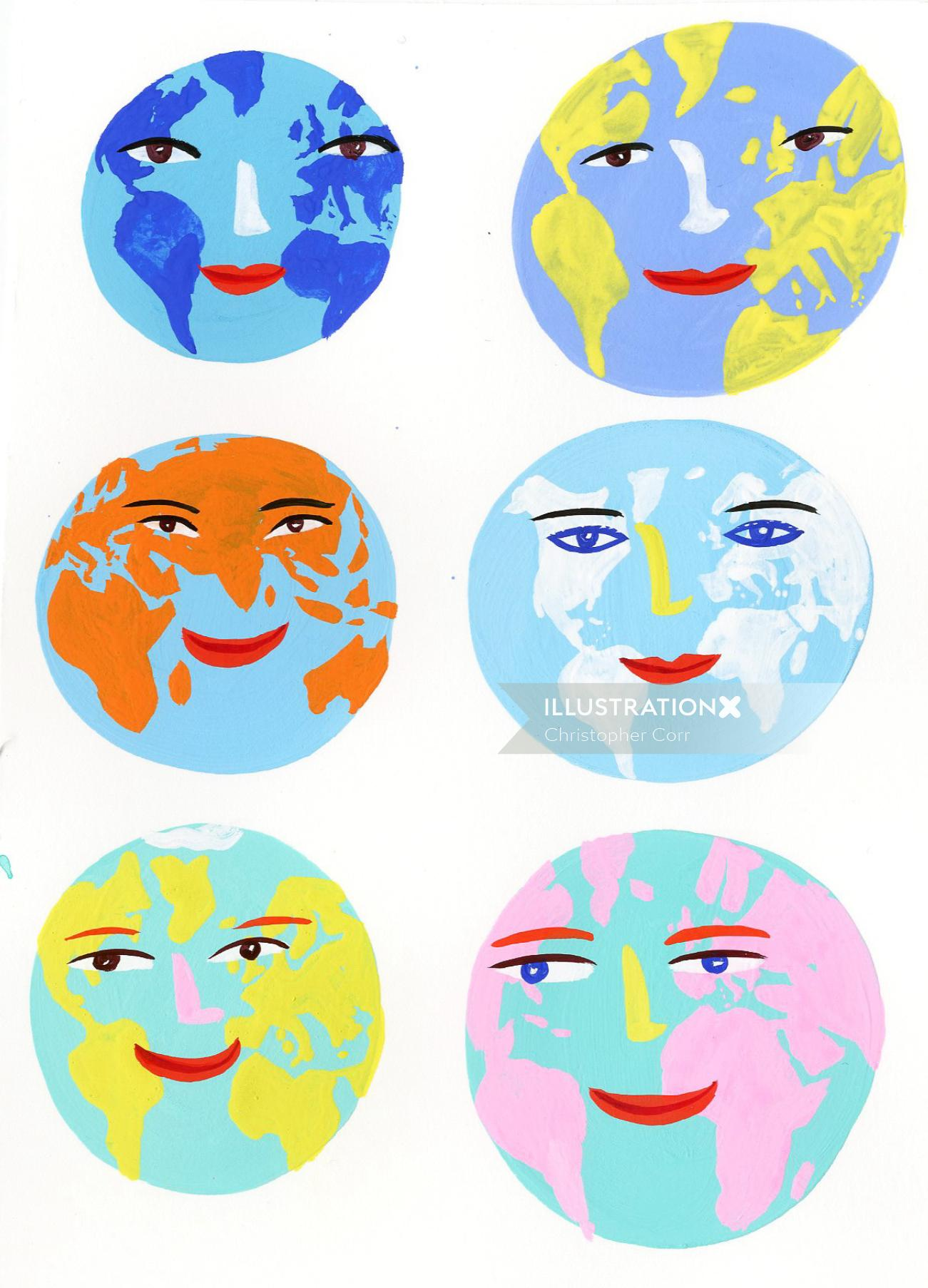 Face worlds illustration by Christopher Corr