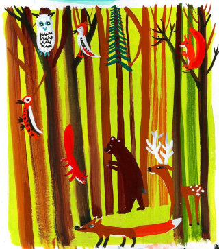 An illustration for Teremok in the forest by  Christopher Corr