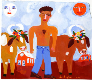cartoon illustration of a man and cows by Christopher Corr