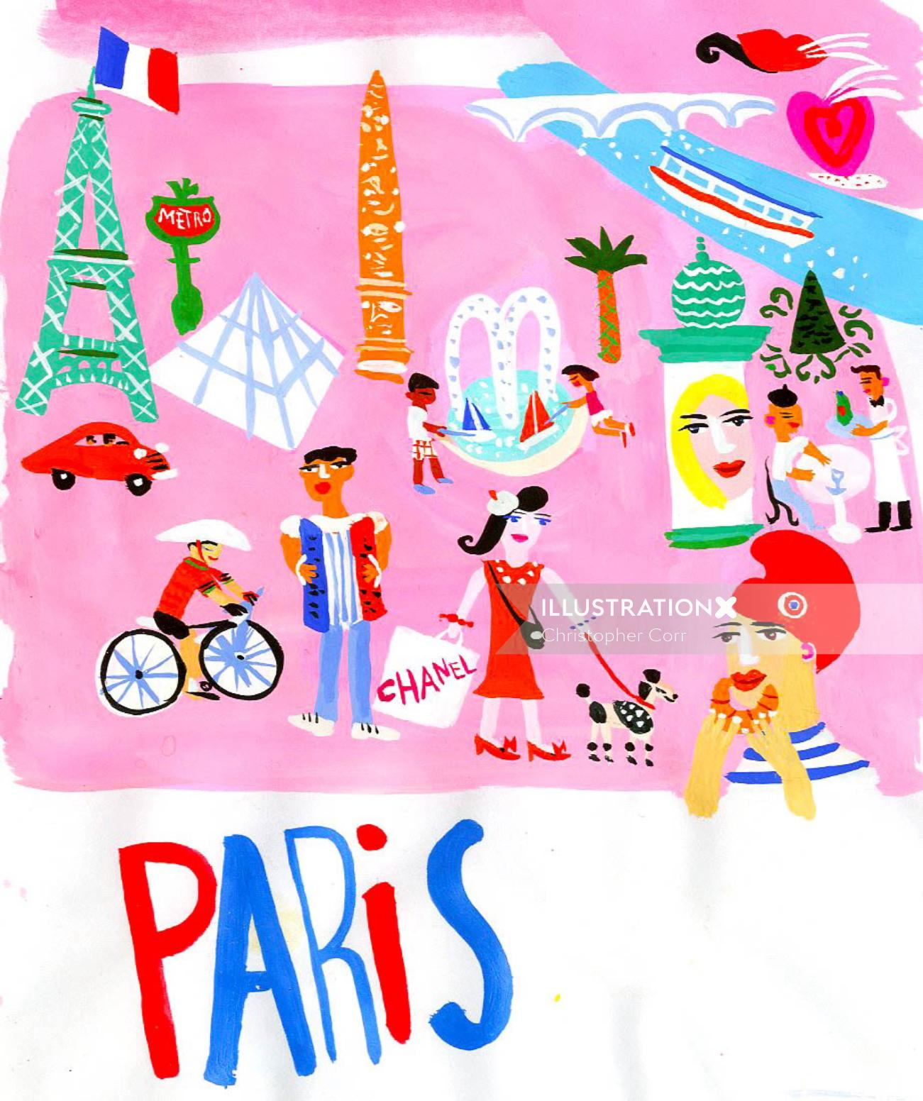 Paris illustration by Christopher Corr