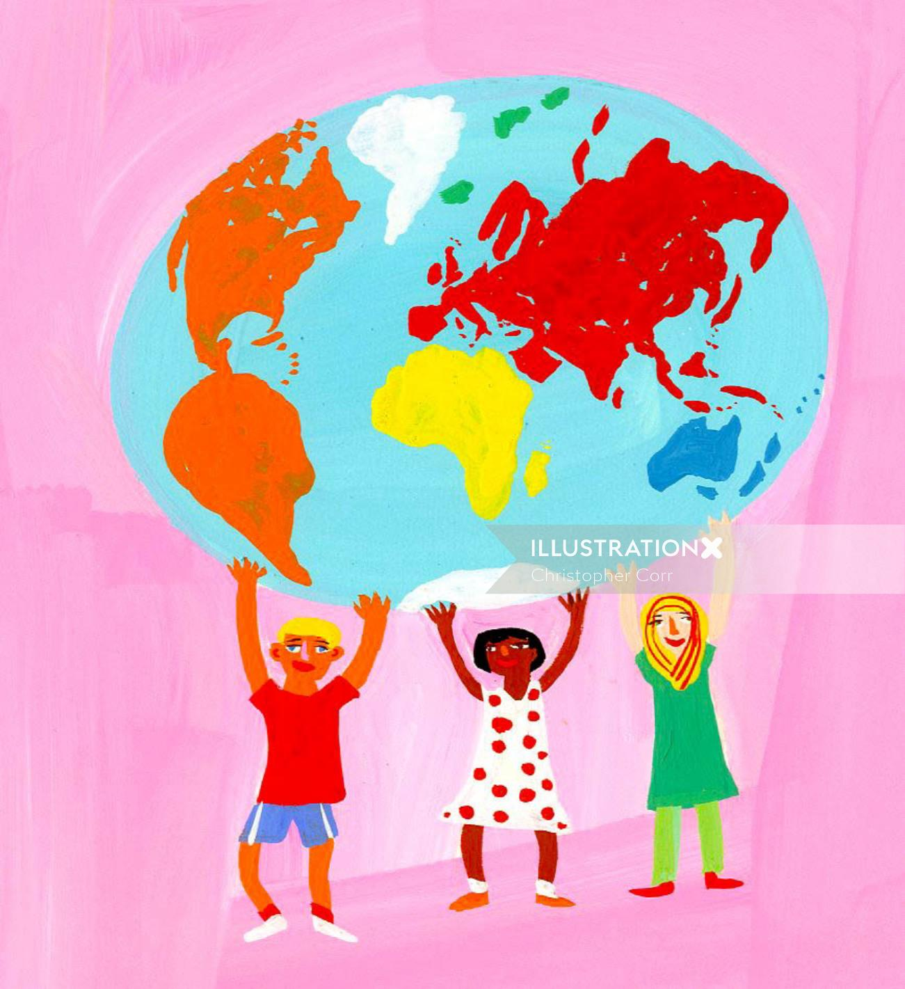 cartoon children holding up world - An illustration by Christopher Corr