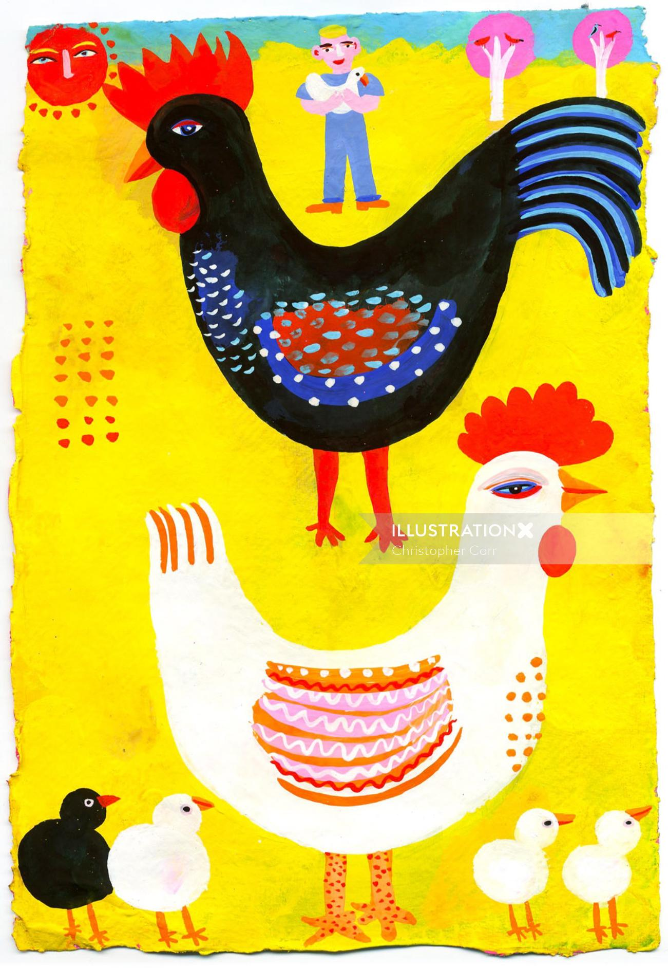 Cock & Hen illustration by Christopher Corr