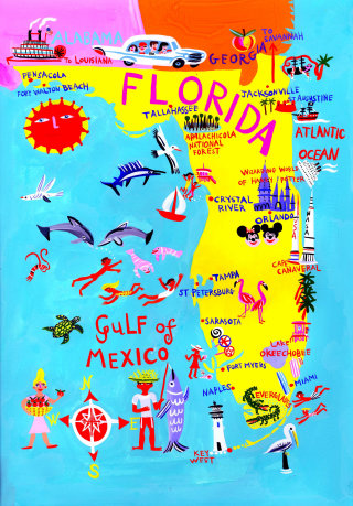 Florida map illustration by Christopher Corr