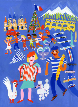 France traditional illustration by Christopher Corr