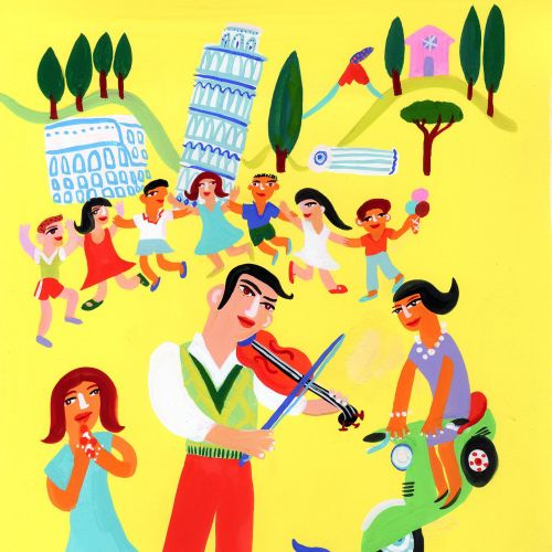 Kids dancing for music illustration by Christopher Corr