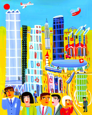 People and buildings illustration by Christopher Corr