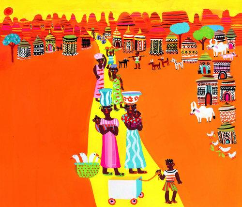 印度村庄的画