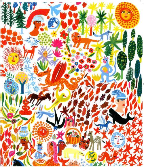 绘画印度森林和生活方式