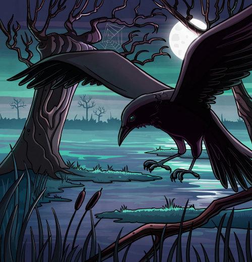 Dessin animé et humour corbeau dans la jungle