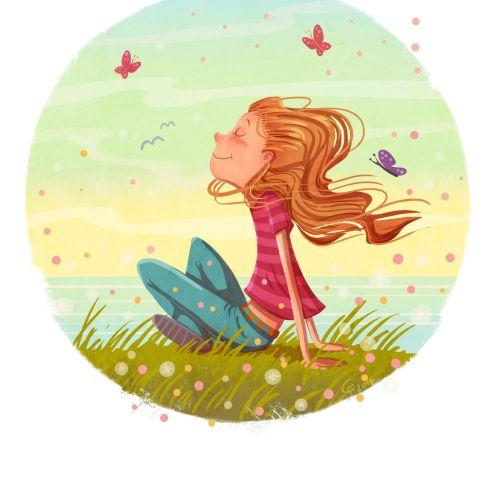 children illustration of girl in nature