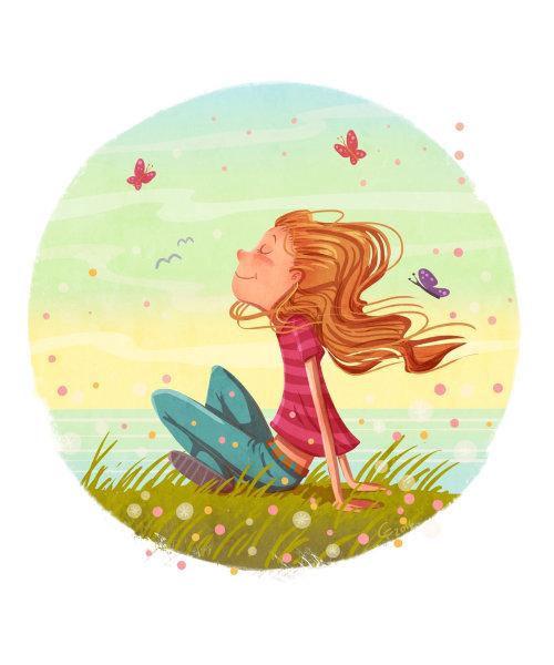 illustration d & # 39; enfants de fille dans la nature