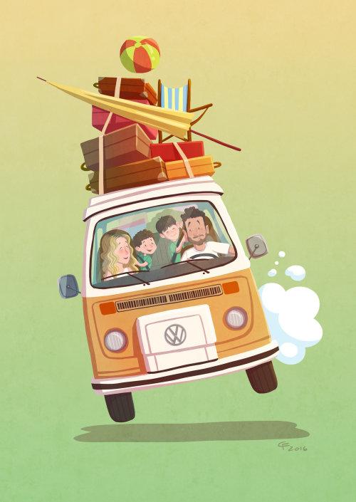 Children illustraion family in van