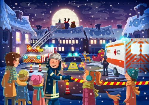Cartoon & Humour snowy city with ambulance