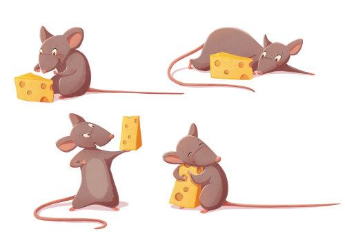 Souris de conception de personnage avec du fromage