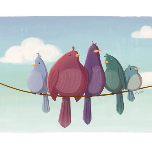 Animal character design of love birds