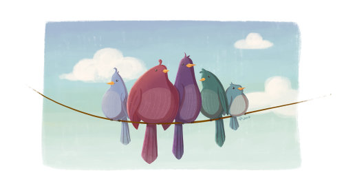 Diseño de personajes animales de pájaros del amor
