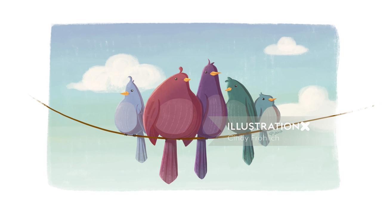Animal character design of love birds