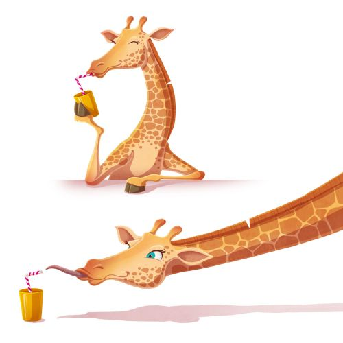 Animal character design of Giraffe