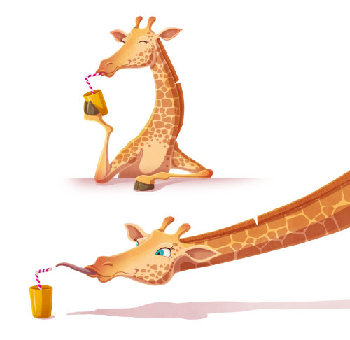 Animal character design of Giraffe