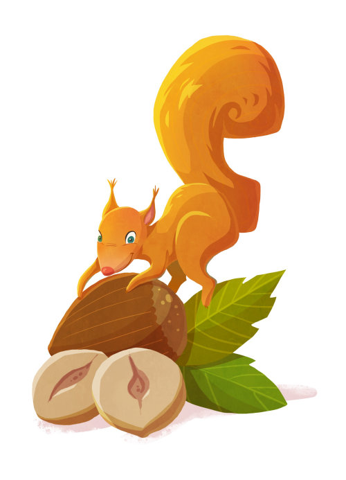 Diseño de personaje animal de la ardilla roja por Cindy Fröhlich