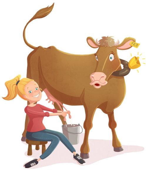 enfants illustration fille avec vache
