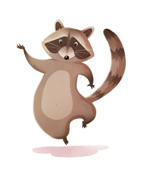 Conception de personnage animal ratons laveurs