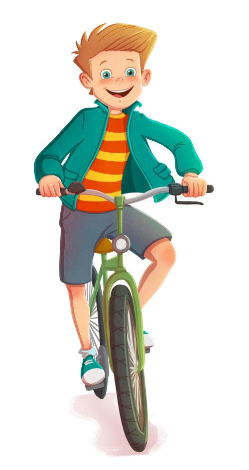 Children illustration boy on bicycle