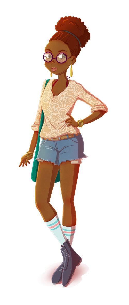 Graphic illustration posing woman