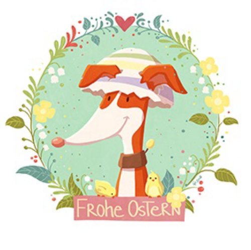 Illustration graphique Frohe Ostern