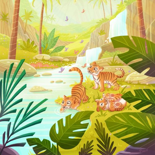 children illustration tigers in wild