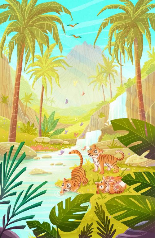 enfants illustration tigres à l'état sauvage