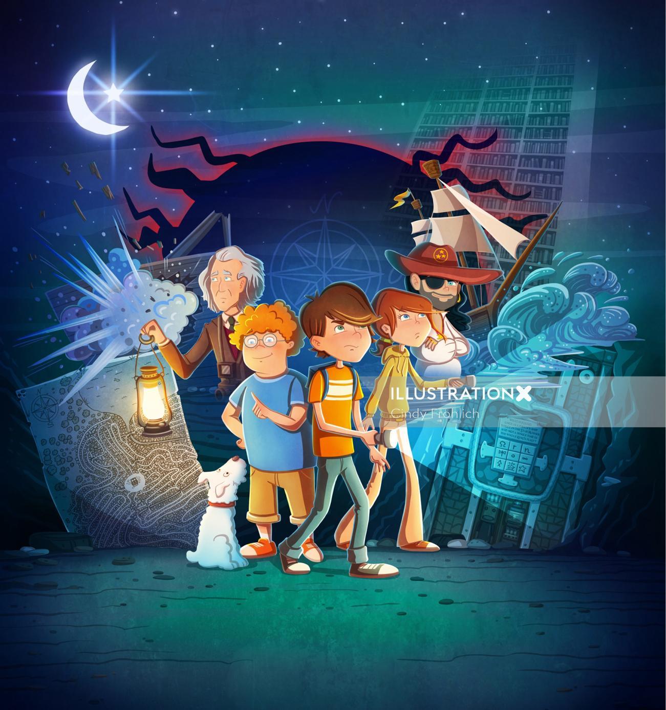 children illustration kids searching